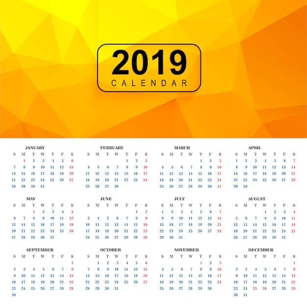 Piękny 2019 kolorowy szablon kalendarza