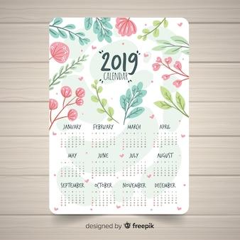 Piękny 2019 szablon kalendarza z kwiatowy styl
