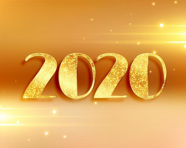 Piękny 2020 nowy rok tło w złotych kolorach