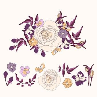 Piękny 2d kwiatowy bukiet