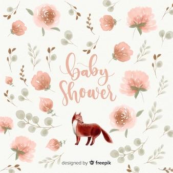 Piękny akwarela baby shower szablon