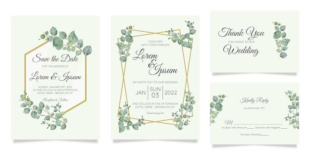 Piękny akwarela botaniczny ślub zaproszenia szablonu karty zestaw z dekoracją kwiatów