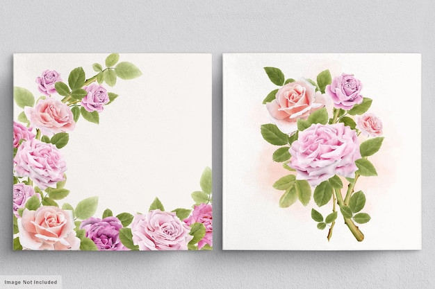 Piękny akwarela bukiet róż