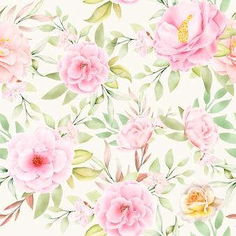 Piękny akwarela kwiatowy i pozostawia bez szwu wzór