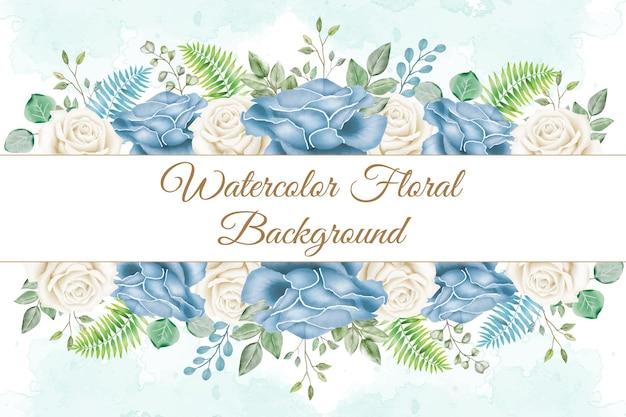 Piękny akwarela kwiatowy rama tło na szablon transparentu ślubnego