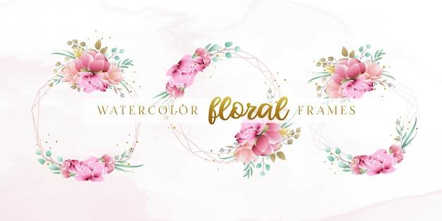 Piękny akwarela kwiatowy ramki szablon