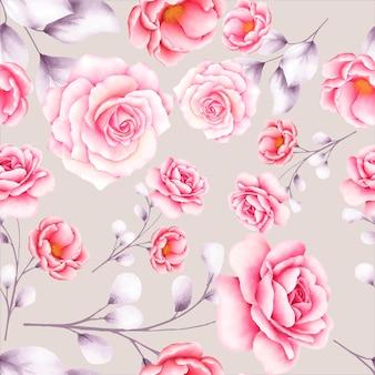 Piękny akwarela kwiatowy wzór bez szwu seamless