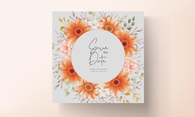 Piękny akwarela kwiatowy zaproszenie na ślub karty szablon projektu