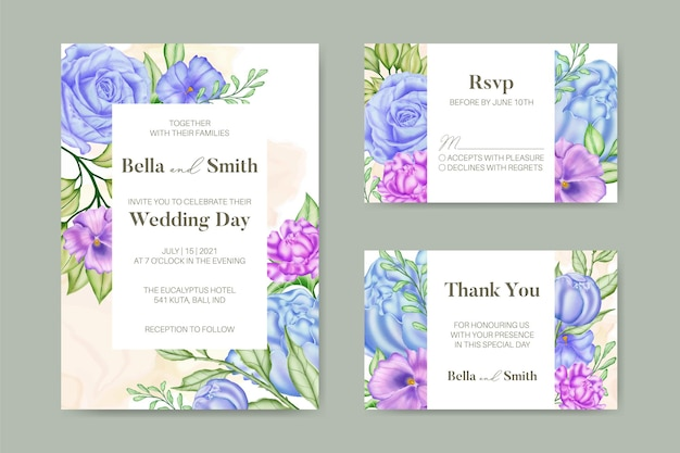 Piękny akwarela kwiatowy zaproszenie na ślub szablon
