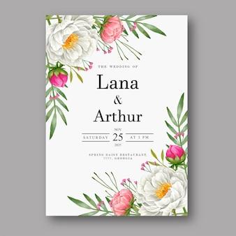 Piękny akwarela kwiatowy zaproszenie na ślub