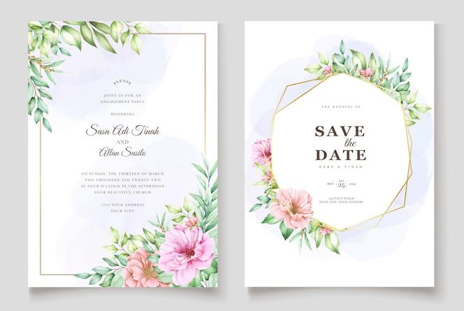 Piękny akwarela zaproszenia ślubne kwiatowy szablon
