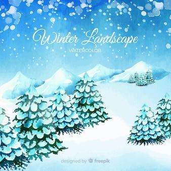Piękny akwarela zimowy krajobraz
