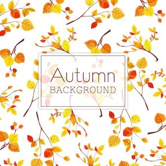 Piękny akwareli jesieni liści tło
