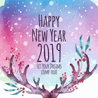Piękny akwareli nowy rok 2019 skład