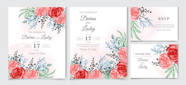 Piękny akwarelowy kwiatowy motyw zaproszenia ślubnego