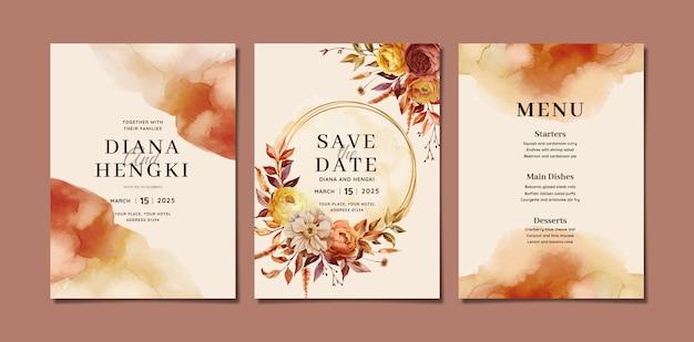 Piękny akwarelowy szablon zaproszenia ślubnego z jesiennym kwiatowym