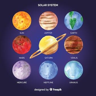Piękny akwarelowy układ słoneczny