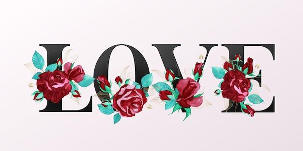 """Piękny alfabet """"love"""" w złotym kolorze z dekoracją z akwareli czerwonej róży"""