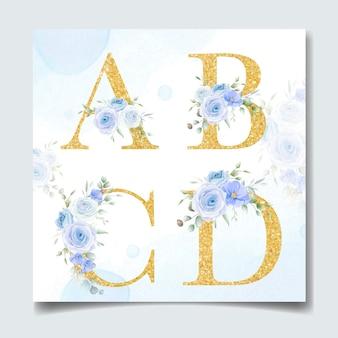 Piękny alfabet w złotym kolorze z kwiatowym kwiatem