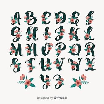Piękny alfabet z kwiatami