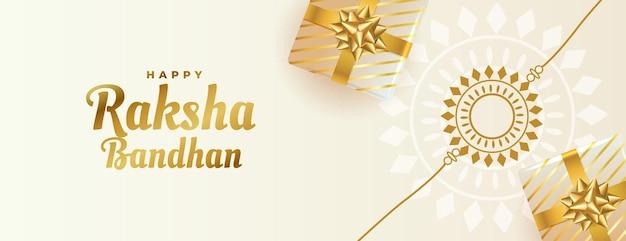 Piękny baner raksha bandhan z pudełkami prezentowymi i rakhi