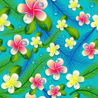 Piękny bezszwowy kwiecisty dżungli wzoru tło.
