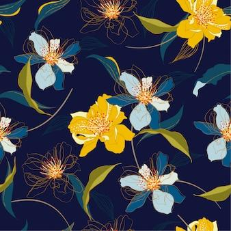 Piękny bezszwowy kwitnący czereśniowy okwitnięcie kwitnie wektor