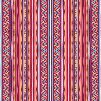 Piękny bezszwowy plemienny wzór w pionowe paski i trójkąty