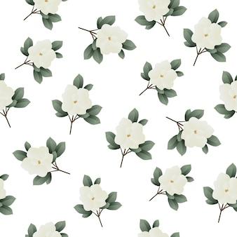 Piękny bezszwowy tropikalny wzór z kwiatami magnolii