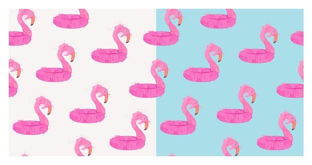Piękny bezszwowy tropikalny wzór z ptakiem flamingo