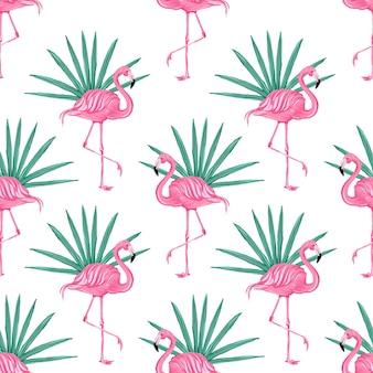 Piękny bezszwowy wektor tropikalny wzór z różowymi flamingami streszczenie tle lato