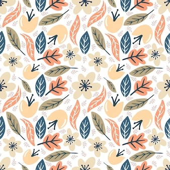 Piękny bezszwowy wzór wektorowy z różnymi liśćmi i kwiatami na tle