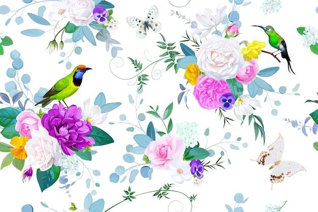 Piękny bezszwowy wzór z kwiatowymi bukietami róż na wiosenną sukienkę