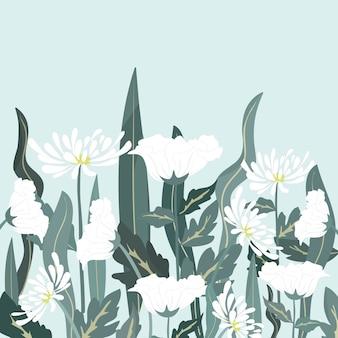 Piękny biały kwiat i liść w ogródzie.
