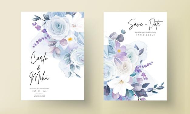 Piękny biały kwiatowy szablon karty ślubnej
