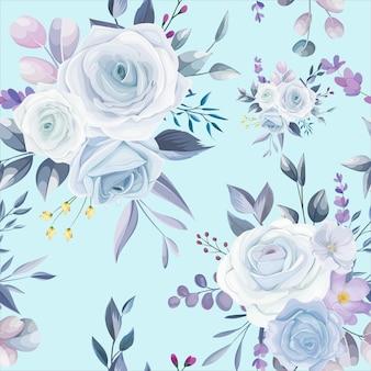 Piękny biały kwiatowy wzór bez szwu