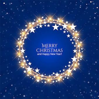 Piękny błyszczący gwiazd święta bożego narodzenia na niebieskim tle