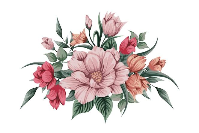 Piękny bukiet akwarela kwiatów