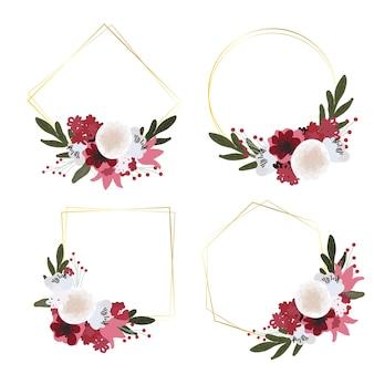 Piękny bukiet czerwonych i białych kwiatów ze złotą geometryczną ramą w stylu płaskiej kolekcji na ślub, urodziny lub walentynki