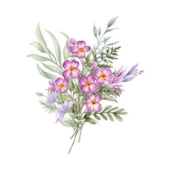 Piękny bukiet dzikich kwiatów i liści na specjalną okazję