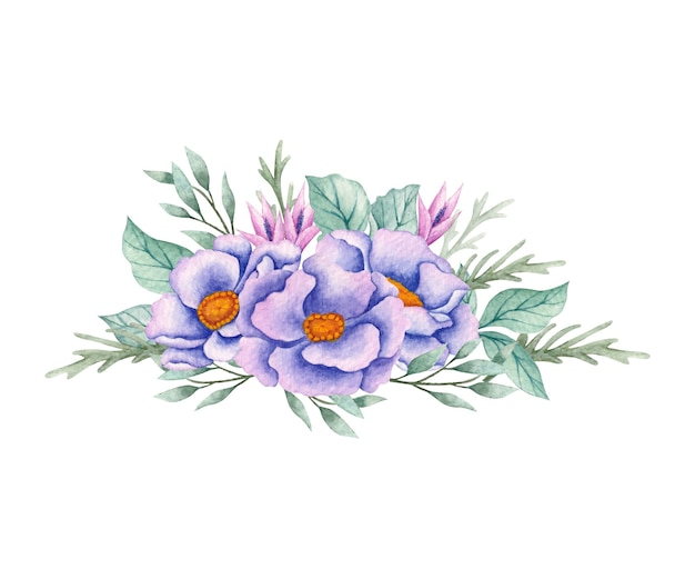 Piękny bukiet kwiatów akwarela na ślub
