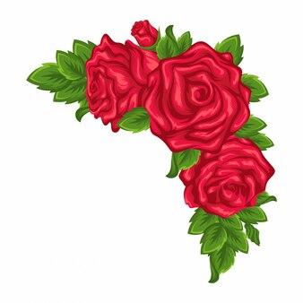 Piękny bukiet róż i liści.
