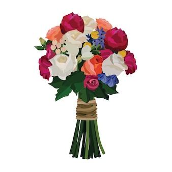Piękny Bukiet Z Kwiatów Ogrodowych. Dekoracja Kwiatowa Na Prezent. Ilustracja Wektorowa. Premium Wektorów