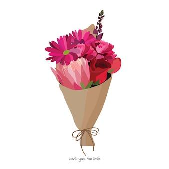 Piękny bukiet z kwiatów ogrodowych. dekoracja kwiatowa na prezent. ilustracja wektorowa.