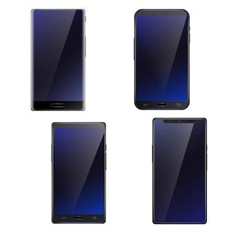Piękny ciemnoniebieski błyszczący wszystkie ekrany z przodu ekran dotykowy smartfony realistyczne 4 telefony komórkowe zestaw na białym tle ilustracji