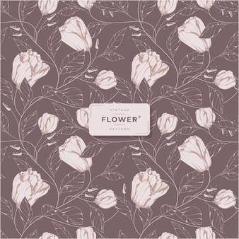 Piękny ciemny wzór kwiatowy w stylu vintage