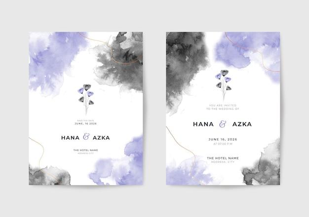 Piękny czarno-fioletowy szablon zaproszenia ślubnego akwarela
