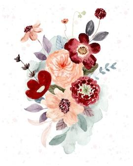 Piękny czerwony brzoskwiniowy układ kwiatowy akwarela