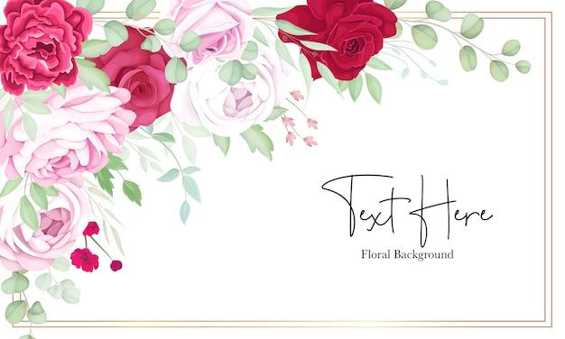 Piękny czerwony i różowy kwiatowy tło ramki z eleganckim atramentem alkoholowym