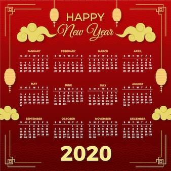 Piękny czerwony i złoty chiński nowy rok kalendarzowy